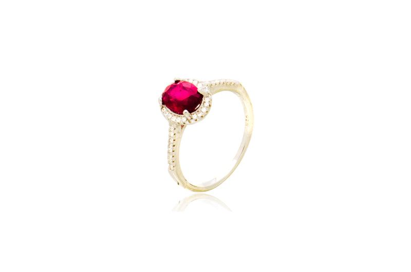 Sterling Silver Ruby Cubic Zirconia Oval Ring