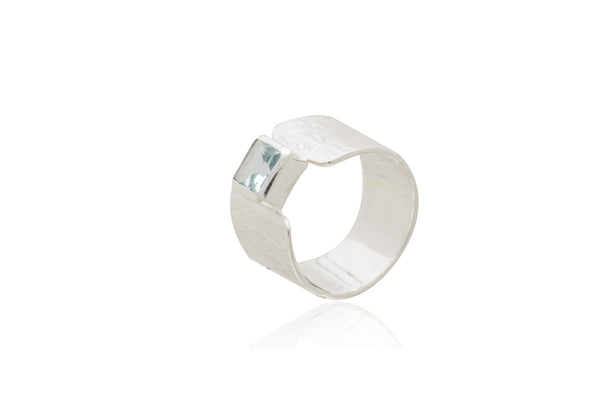 Sterling Silver Blue Topaz Square Ring
