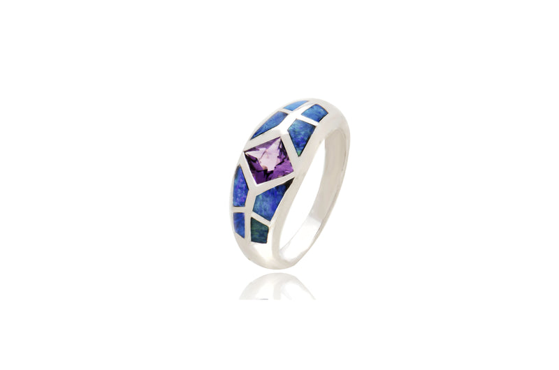 Sterling Silver Opal Inlay Amethyst Ring