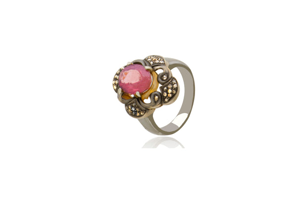 Sterling Silver Gold Plated Diamond Tourmaline Ring