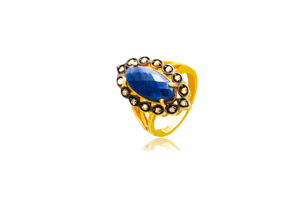 Sterling Silver Gold Plated Natural Sapphire Brown Diamond Ring