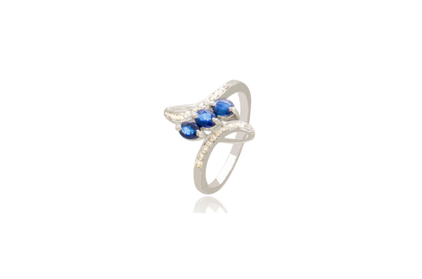 Sterling Silver White Gold Plated Natural Blue Sapphire Diamond Ring