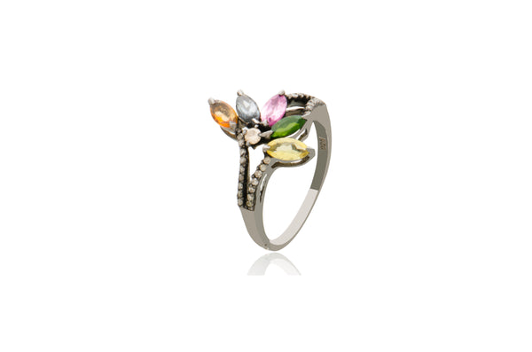 Sterling Silver Tourmaline Diamond Ring
