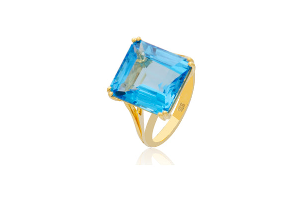 9K Yellow Blue Topaz Emerald Cut Square Ring