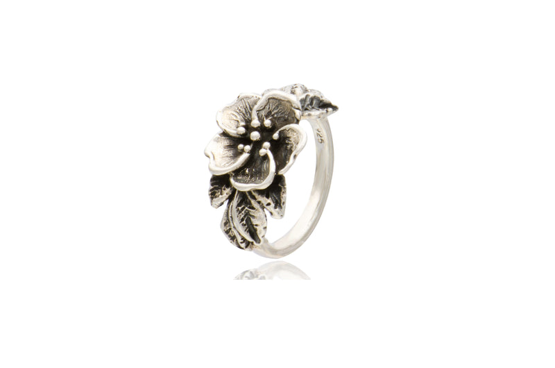 Mexican Sterling Silver Flower Oxidized Ring