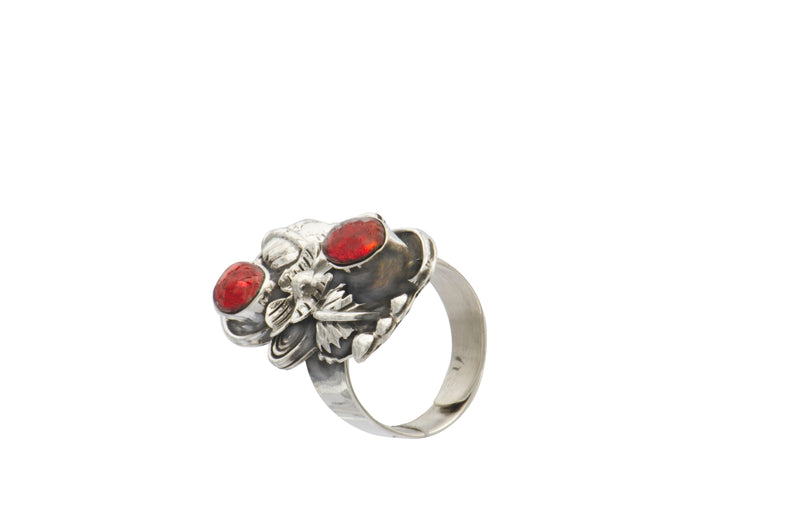 Sterling Silver Taxco Jasper Flower Ring