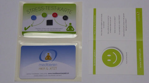 SET WITH 4 STRESS TEST CARDS; 2 SMARTPHONE STICKER POCKETS, MINDFULNESS FOLDING CARD
