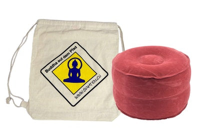 SAMTEN SUN RED & ECO-COTTON BACKPACK: INFLATABLE TRAVEL MEDITATION CUSHION | YOGA MEDITATION CUSHION