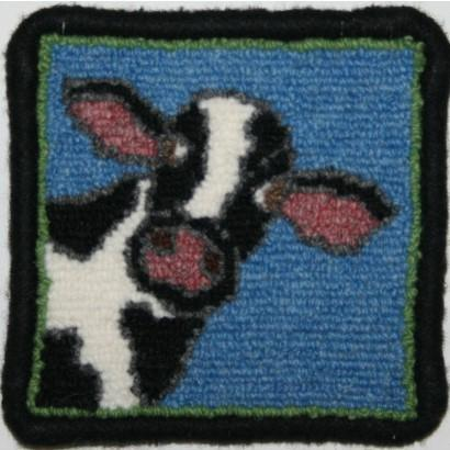 Cow Coaster Rug Hooking Kit | 4 x 4