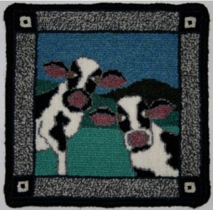 "Cows Large Rug Hooking Kit | 10 x 10"" Complete Rug Hooking Kit"