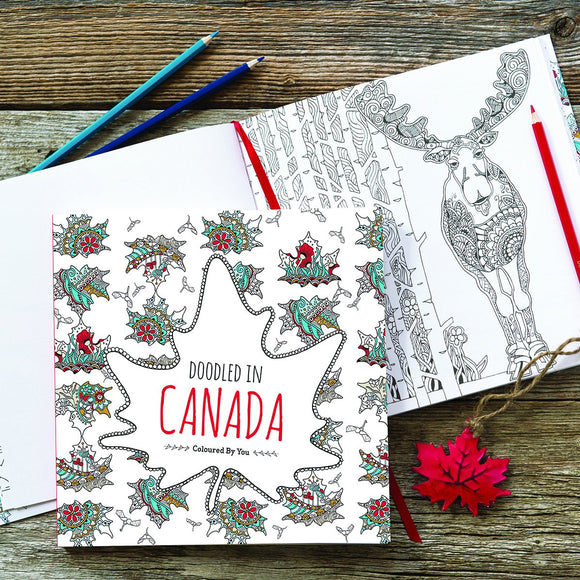 Doodled in Canada - Coloured by You | Doodled Colouring Book Designed by Doodle Lovely