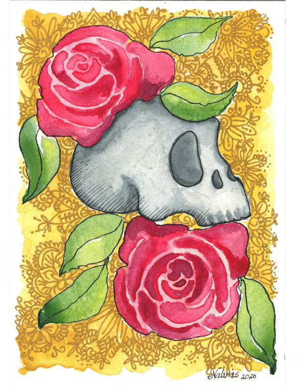Day of the Dead | Elsa Valinas Original Watercolour Painting 5x7