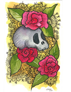 Day of the Dead | Elsa Valinas Original Watercolour Painting 6x9""