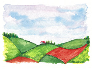 PEI Pasture with House on the Hill | Elsa Valinas Original Watercolour Painting 5x7""