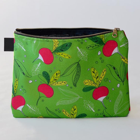 Country Garden Green Zipper Carry Pouch | Carry-All Designed by Doodle Lovely