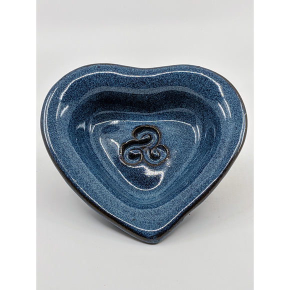heart-shaped dish with embossed celtic knot dish, glazed dark blue