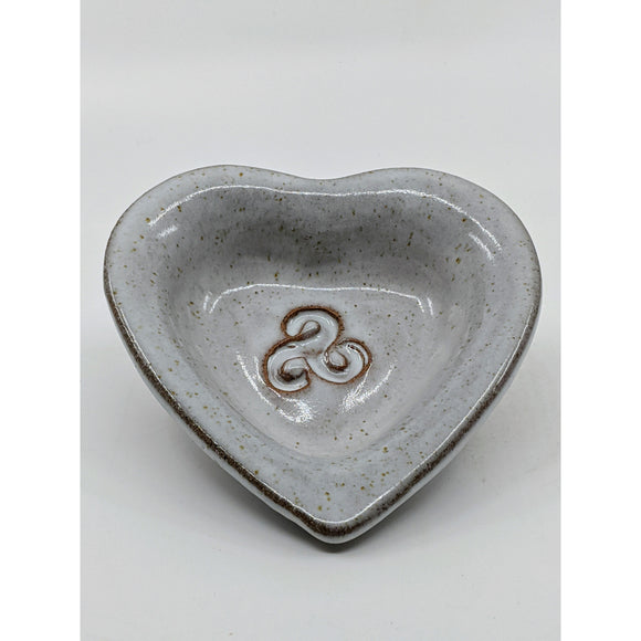 heart-shaped dish with embossed celtic knot dish, glazed antique white