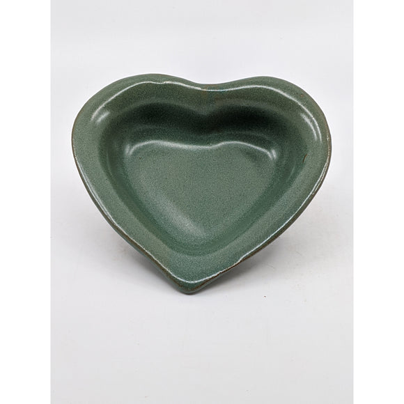 heart-shaped dish glazed pasture green