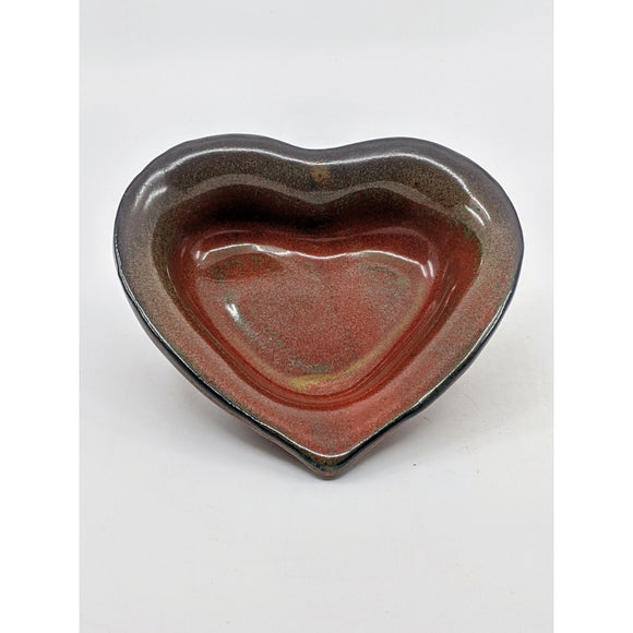 heart-shaped dish glazed iron red