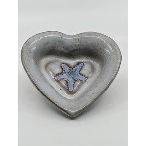 heart-shaped dish glazed antique white with embossed starfish glazed light blue