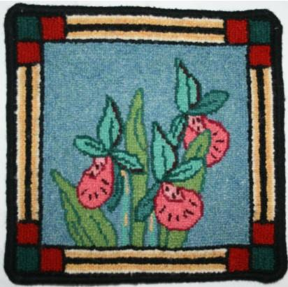 Lady Slipper Large Rug Hooking Kit | 10 x 10
