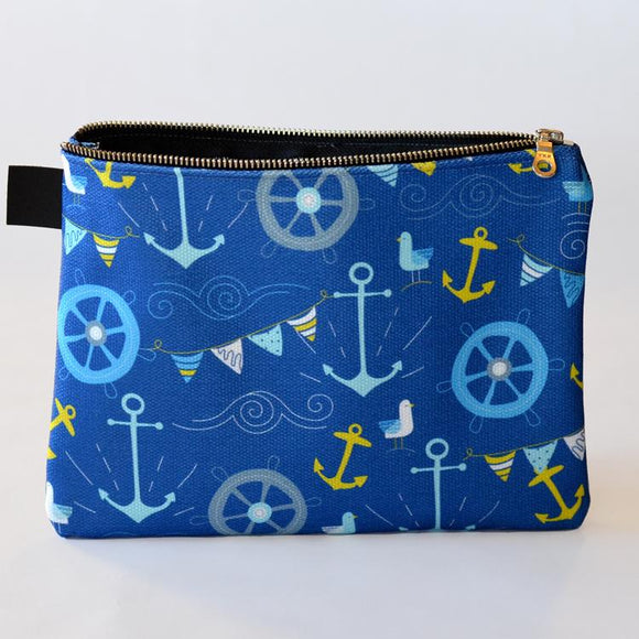Royal Nautical Blue Zipper Carry Pouch | Carry-All Designed by Doodle Lovely