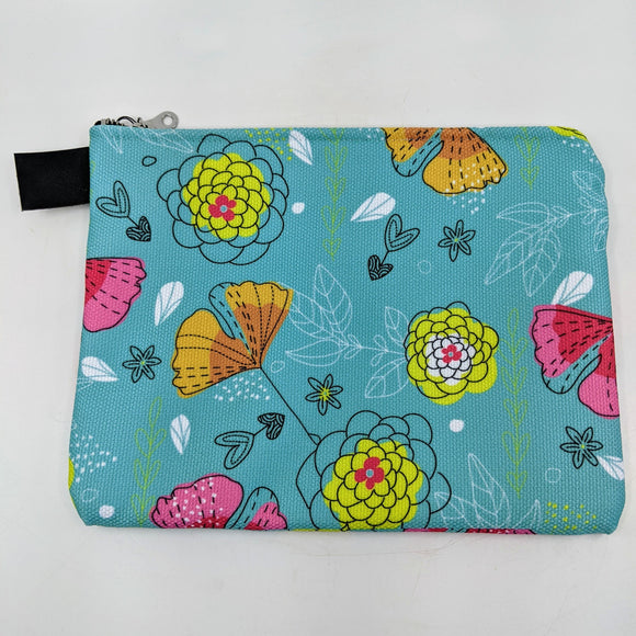 Bright Floral Turquoise Zipper Carry Pouch | Carry-All Designed by Doodle Lovely