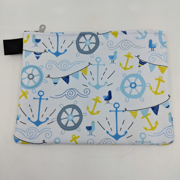 Royal Nautical White Zipper Carry Pouch | Carry-All Designed by Doodle Lovely