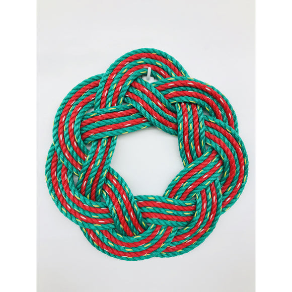 "Christmas Swirl Sailors Wreath | 16"" Hand Woven Green and Red Rope Wreath"