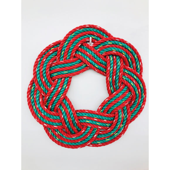 "Christmas Swirl Sailors Wreath | 16"" Hand Woven Red and Green Rope Wreath"