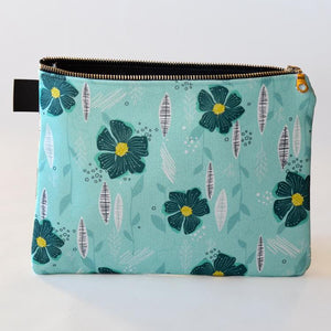 Subtle Floral Turquoise Zipper Carry Pouch | Carry-All Designed by Doodle Lovely