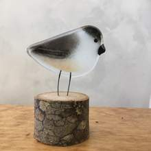 Chickadee Chick on Perch | Glass Ornament by The Glass Bakery