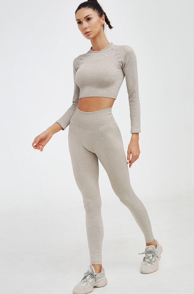Sparks Luxe-rib™ Seamless Long-Sleeves Set, Beige