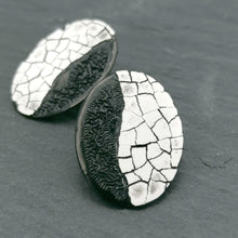 Load image into Gallery viewer, Mini Modern Mosaic Oval stud earrings with a dark side