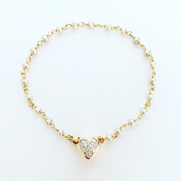 14k & Diamond Heart Beaded Bracelet