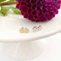 14k White Gold & Diamond Pave Flower Posts