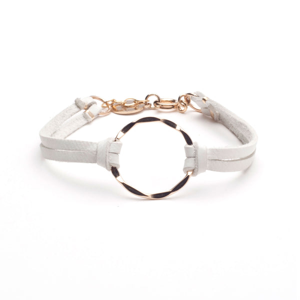 Leather Hammered Ring Bracelet