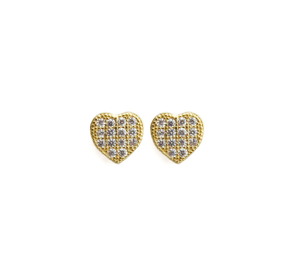 14k Gold & Diamond Pave Heart Posts