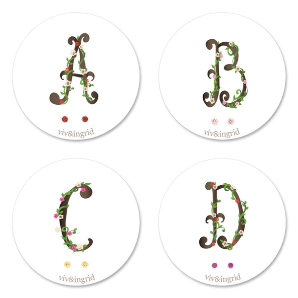 Floral Monogram Cards with CZ Posts (A - D)