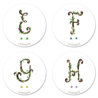 Floral Monogram Cards with CZ Posts (E - H)