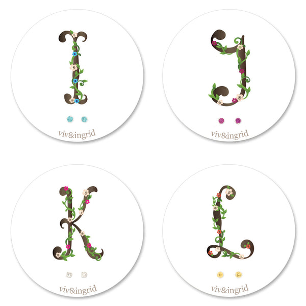 Floral Monogram Cards with CZ Posts (I - L)
