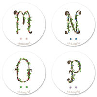 Floral Monogram Cards with CZ Posts (M - P)