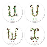 Floral Monogram Cards with CZ Posts (U - X)