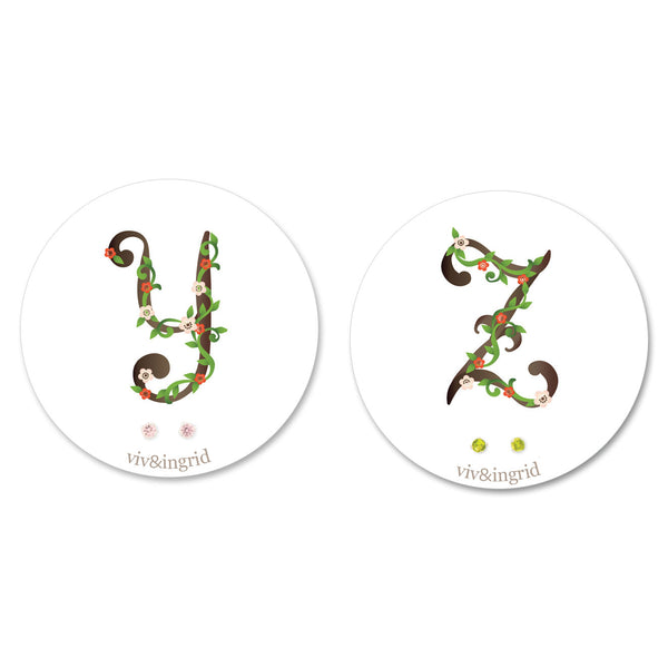 Floral Monogram Cards with CZ Posts (Y - Z)