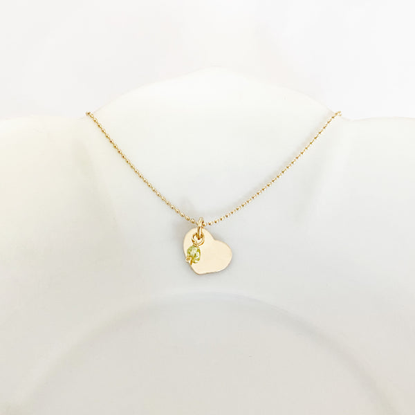 Heart Birthstone Charm Necklace