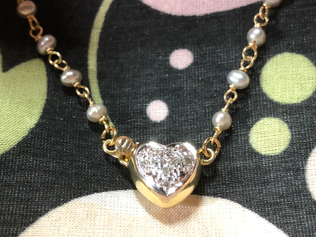 14K Gold Diamond Heart and Pearl bracelet