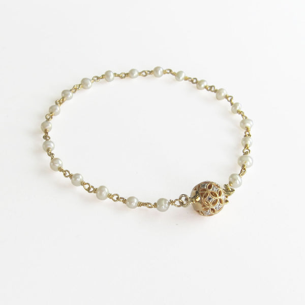 14k & Diamond Ball Beaded Bracelet