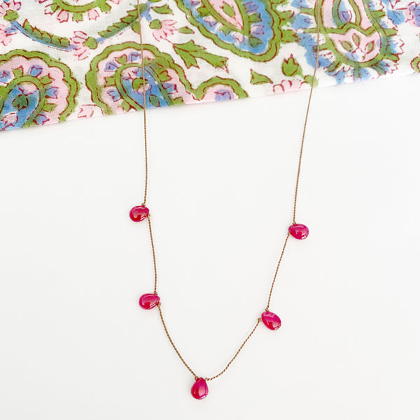 5-Drop Silk & Birthstone Necklace