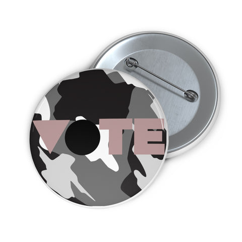 Grey Camo Vote Pin