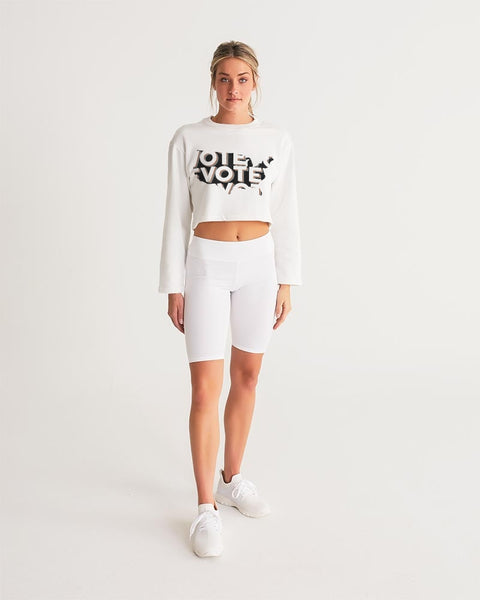 Vote4_KinseyH_Transparent Women's Cropped Sweatshirt